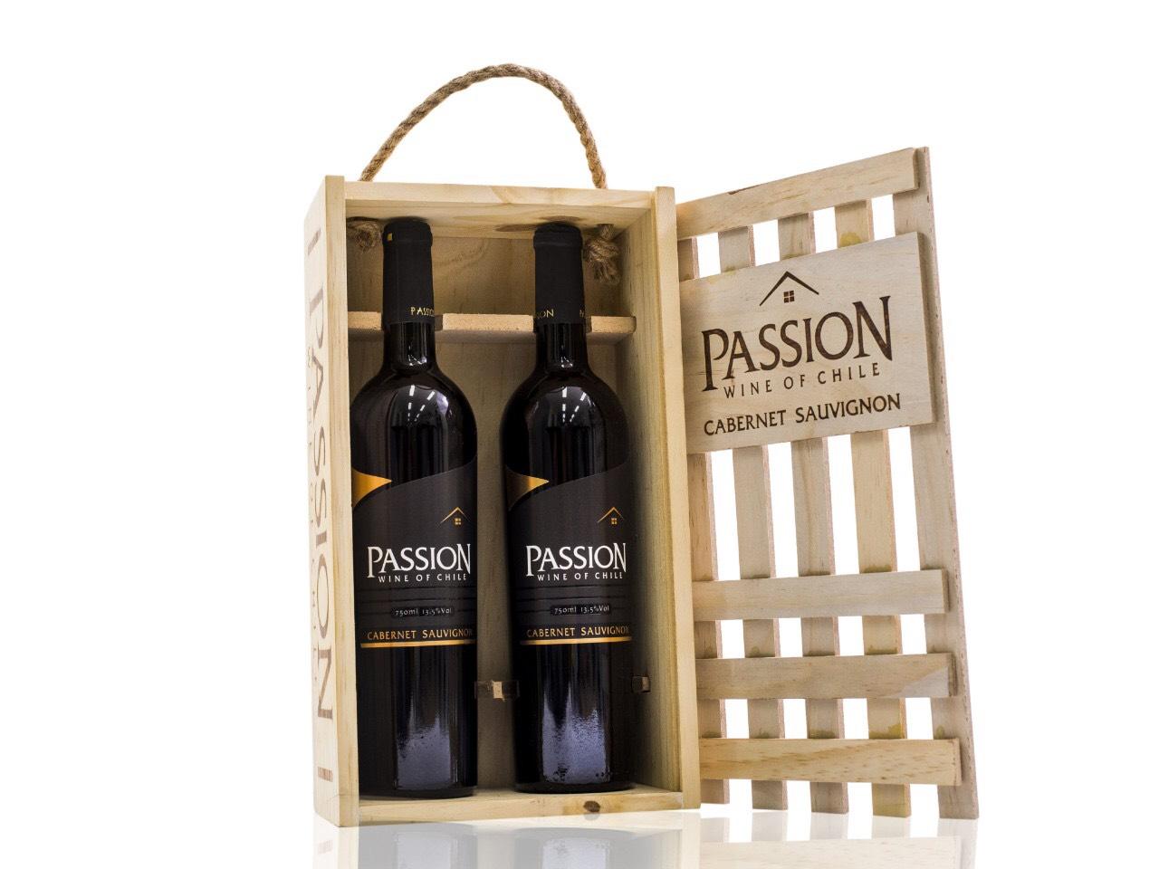 Rượu vang đỏ Passion Cabernet Sauvgnon Hộp gỗ 2 chai 750ml